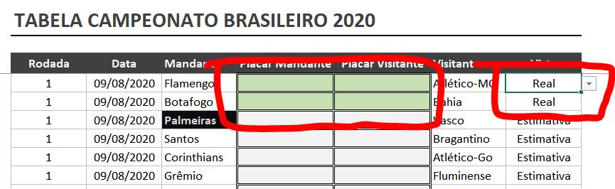 Planilha Campeonato Brasileiro 2020